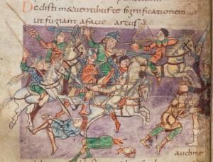 Kampfdarstellung (Stuttgarter Psalter; 9. Jhdt.; Quelle: wikipedia.de)