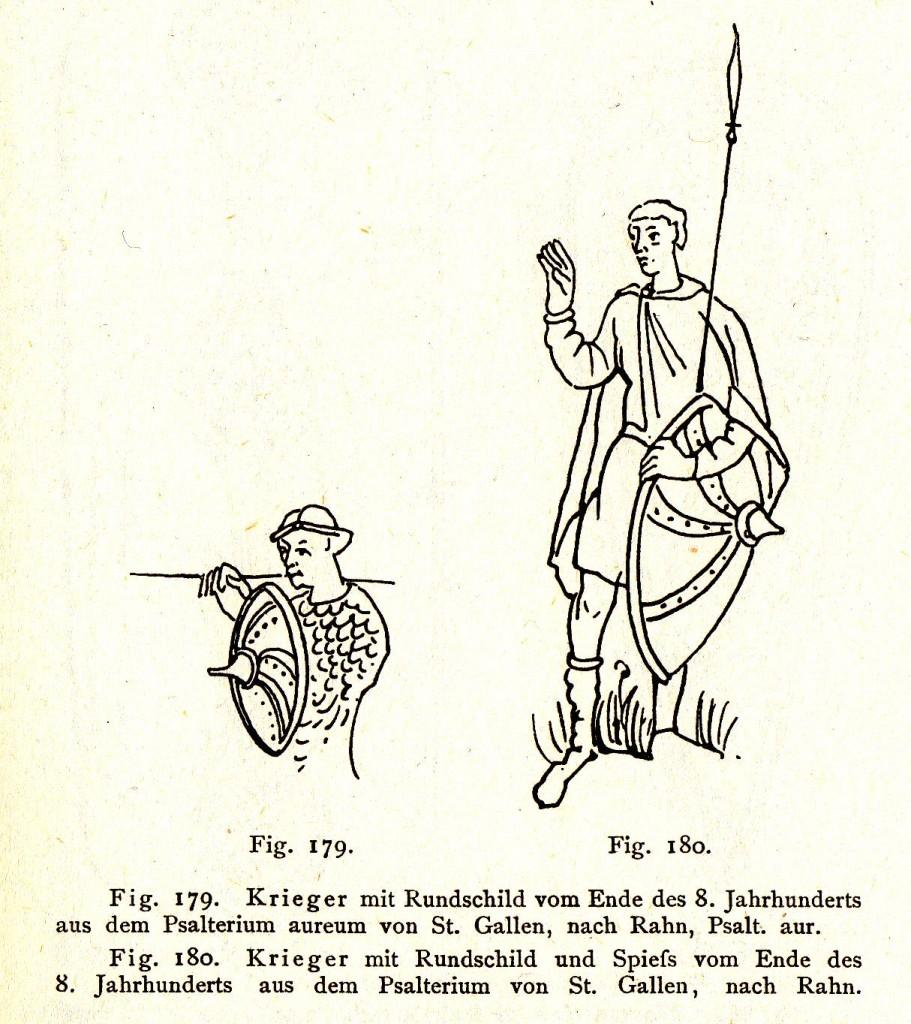 """Rundschild aus """"Handbuch der Waffenkunde - Das Waffenwesen in seiner historischen Entwicklung vom Beginn des Mittelalters bis zum Ende des 18. Jahrhunderts"""" von Wendelin Boeheim (Verlag von E.A.Seemann, Leipzig 1890)"""