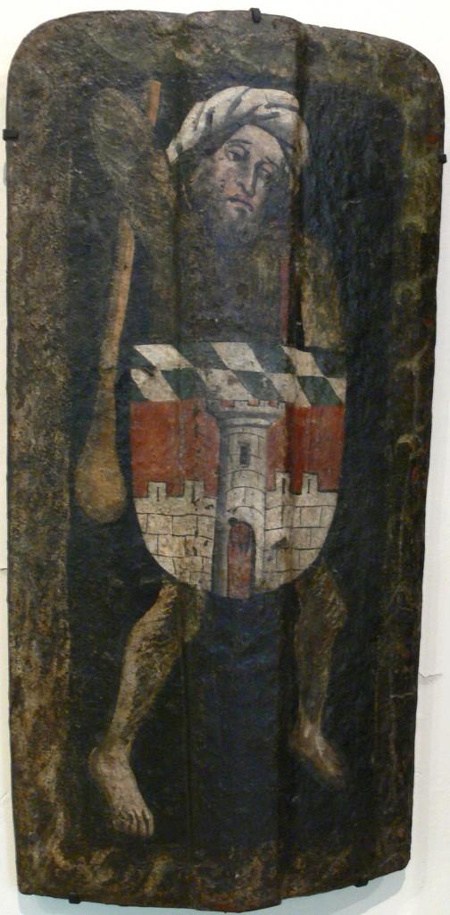 Setzschild mit dem Wappen der Stadt Deggendorf. Süddeutsch, um 1450. Bayerisches Nationalmuseum, München (Foto von Andreas Praefcke / Quelle: Wikipedia)