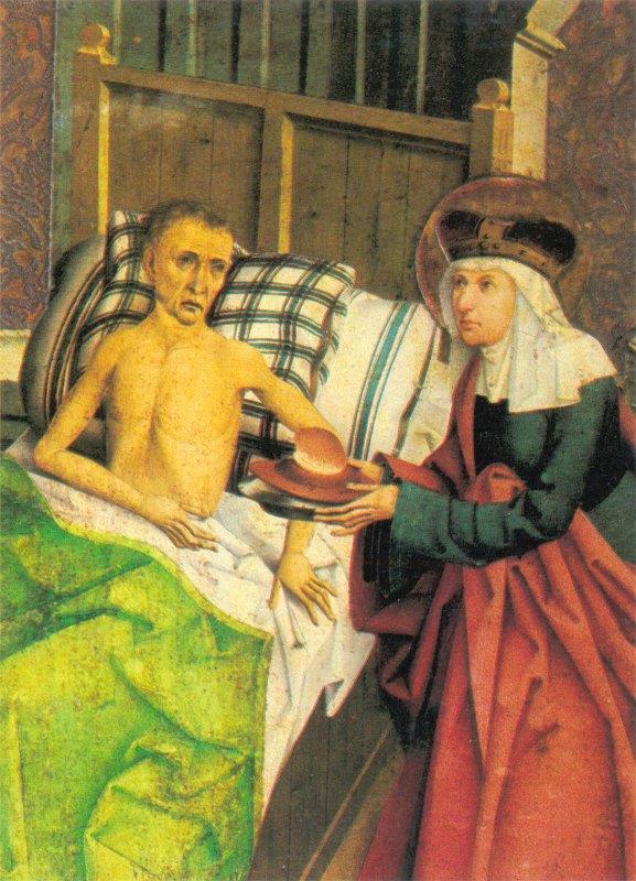 Agnes von Böhmen pflegt einen Kranken, bömischer Maler 1482 (Quelle: Wikipedia)