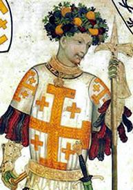Gottfried von Bouillon in einem Fresko im Castello della Manta aus dem 15. Jahrhundert(Quelle: Wikipedia)