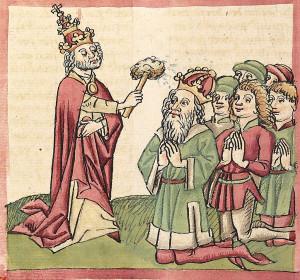Papst Gregor V. krönt Otto III. (aus der Papst-Kaiser-Chronik des Martin von Troppau, um 1460; Quelle: Wikipedia)