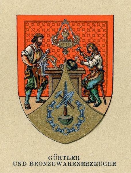 Wappen der Gürtler und Bronzewarenerzeuger (Wappen der Wiener Gewerbegenossenschaften, um 1900) (Quelle: wikimedia)