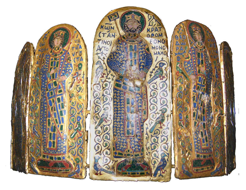 Konstantin VIII, Zoe und Theodora auf Emailletafeln (vermutlich Teil einer Krone) circa 1042 (Quelle: Wikipedia)