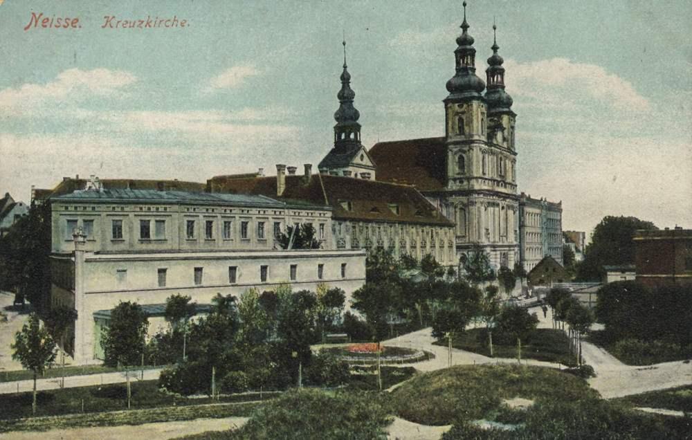 Blick auf die Kreuzkirche Neisse etwa 1900/1910