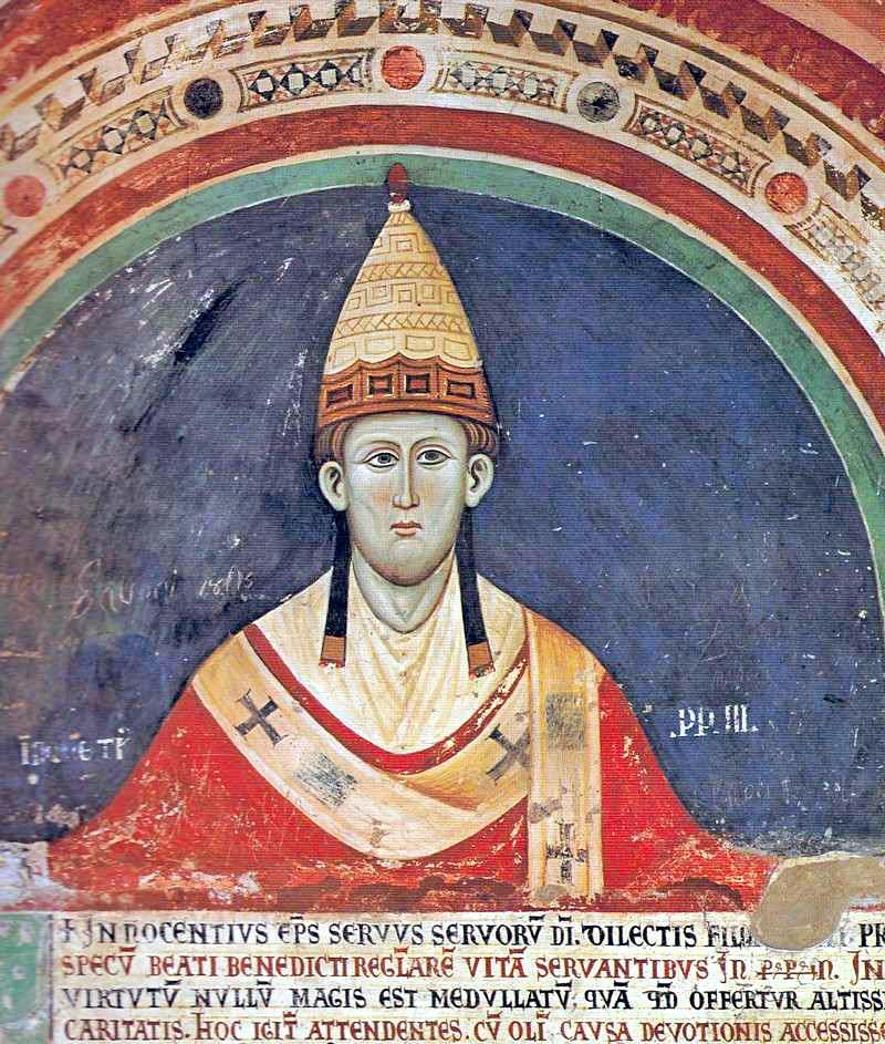Papst Innozenz III. (Fresko im Kloster San Benedetto (Subiaco) in Subiaco, Latium, um 1219)-(Quelle: Wikipedia)