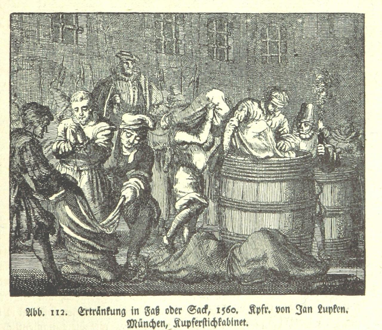 Ertränken im Fass oder Sack - Kupferstich von 1560 (Quelle: Wikipedia)