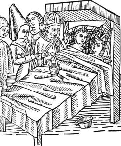 Reymont und Melusina wurden verlobt und der Bischof  segnet die Ehe in ihrem Bett. Holzschnitt aus dem Werk Schöne Melusine, 15. Jahrhundert Quelle: Wikipedia