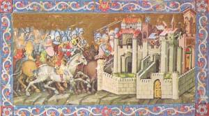 Die Hunnen belagern eine Stadt (Aquileia?), Ungarische Bildercronik aus dem 14. Jahrhundert (Quelle: Wikimedia)