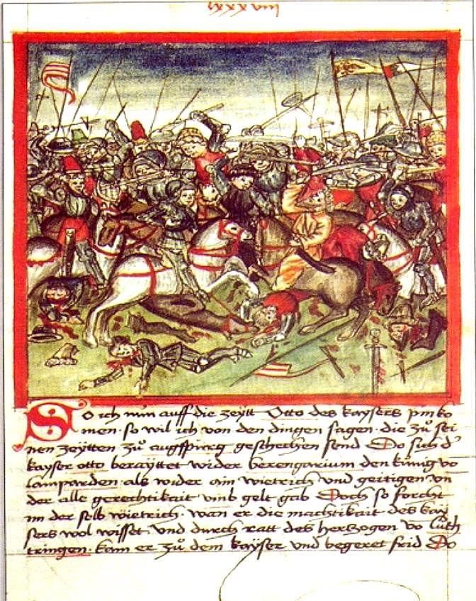Die Schlacht auf dem Lechfeld in einer Darstellung von 1457 (Quelle: Wikipedia)