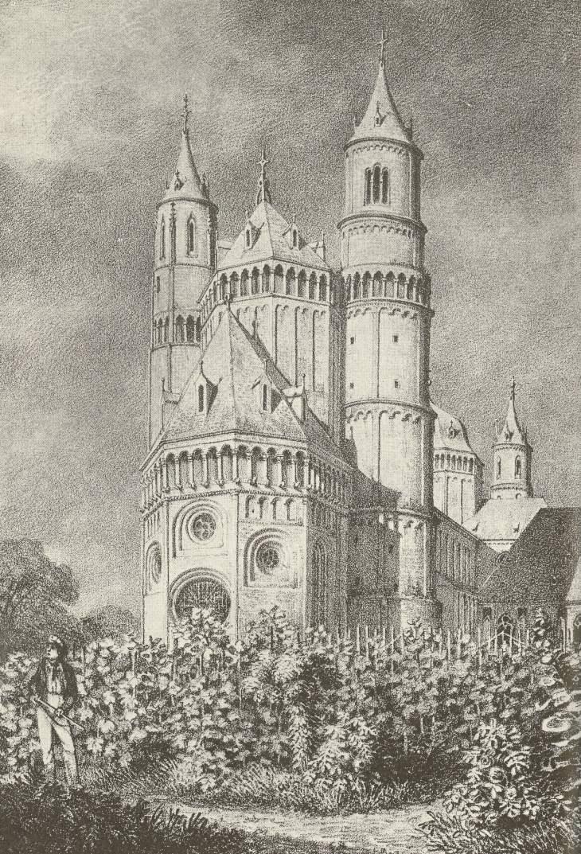 Der Dom zu Worms, Zeichnung von  Eugen Neureuther 1824 (Quelle: Wikipedia)
