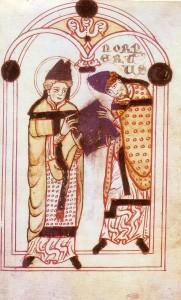 Der hl. Augustinus überreicht Norbert von Xanten seine Ordensregel (um 1140) (Quelle: Wikipedia)