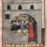 Cod Ser n 2644 fol 60r Tacuinum sanitatis Ein Käsehändler verkauft in seinem Laden einem Mann einen Laib Käse