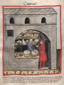 Ein Käsehandler verkauft in seinem Laden einem Mann einen Laib Käse. Cod. Ser. n. 2644 fol 60r Tacuinum sanitatis Datierung: Ende 14. Jhdt. (1380-1399 )  Quelle: Österreichische Nationalbibliothek: Österreichische Nationalbibliothek.