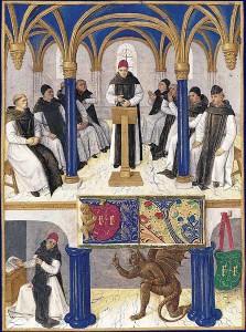 """Bernhard von Clairvaux im Kapitelsaal (Buchmalerei von Jean Fouquet aus dem """"Stundenbuch des Étienne Chevalier""""; vor 1457; Quelle: Wikipedia)"""